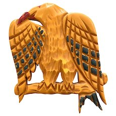 Rare 1930s Cream Carved Bakelite Figural American Eagle Patriotic Brooch Pin