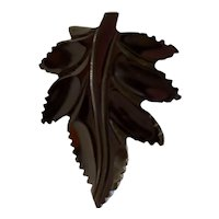 1930s Art Deco Black Carved Bakelite Large Leaf Dress Clip