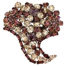 SCHREINER Faux Amethyst and Lilac Rhinestone Floral Bouquet Brooch Pin