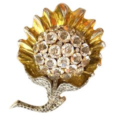 Likely Reja 1940s Important Retro Domed Crystals Goldplated White Metal Brooch Pin