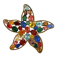 1950s Czechoslovakian Multicolor Oval Crystals Brilliant Starfish Brooch Pin
