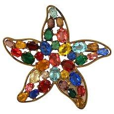 1950s Czechoslovakian Multicolor Oval Crystals Brilliant Starfish Brooch Pin