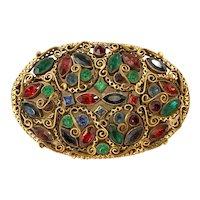 1950s Czechoslovakian Multicolor Gemtone Oval Romantic Historicist Brooch Pin