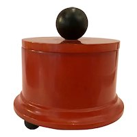 1930s Art Deco Rust Red Circular Bakelite Covered Box Ball Feet Finial