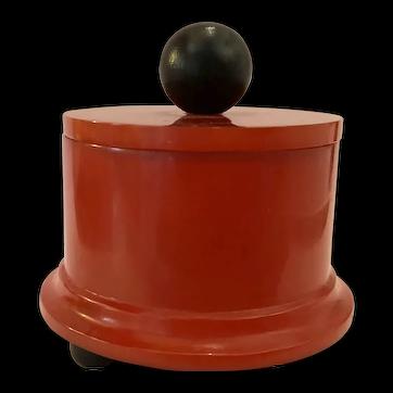 1930s Art Deco Rust Red Circular Bakelite Covered Box Ball Feet Finial