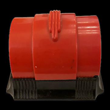 1930s Art Deco Bakelite Era PLASKON Red and Black Presentation Ring Box
