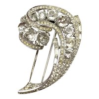Trifari 1940s Rhodium Large Faux Diamante Scroll Brooch Pin.