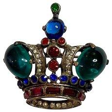Fine Vintage Sterling Crown Trifari Alfred Philippe Coronation Crown Brooch Pin