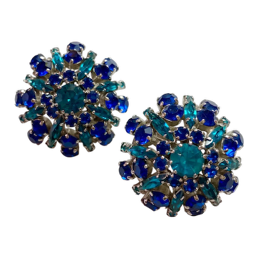 1950s Trifari Faux Sapphire and Turquoise Domed Large Clip Earrings