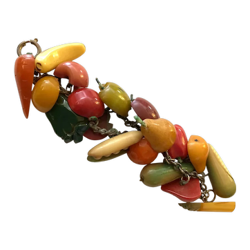 Very RARE 1930s Bakelite Fruits and Vegetables Buttons Link Bracelet