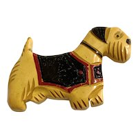 1930s Figural Bakelite Carved and Painted Scotty Dog Pin Brooch