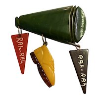 1930s Figural Bakelite Megaphone School Days Cheerleading Pin Brooch