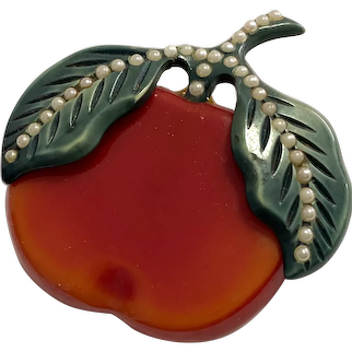 1930s Figural Resin Washed Bakelite and Celluloid Pearl Encrusted Large Apple Pin Brooch