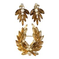 Verified D and E Delizza and Elster Amber and Clear Brown  Lyre Shape Brooch Pin and Earrings Set