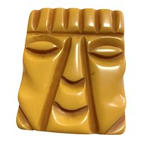 1930s Bakelite Figural Rectangular resin Washed carved TIKI GOD Face Pin Brooch