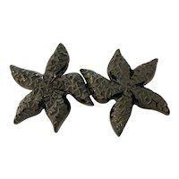1930s Figural Carved Black Bakelite Dancing Starfish Belt Buckle