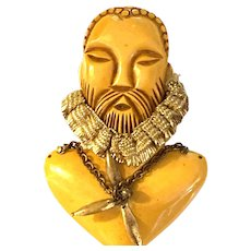 1930s Bakelite Rare William Shakespeare Bearded Man Carved Figural Brooch Pin