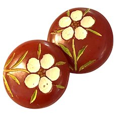 Two (2) 1930s Carved and Painted red Bakelite Sew on Buttons