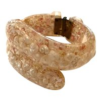Pale Pink Thermoplastic Confetti Lucite Hinged Bracelet