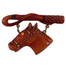 1930s Resin Washed Bakelite Horse with Riding Crop Pin Brooch