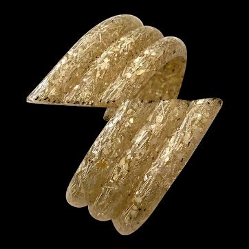 Gold Ivory White Three Lobed Confetti Lucite Thermoset Hinged Bracelet