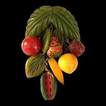 Rare 1930s Figural Bakelite Mixed Fruits Dangling Charms Pin Brooch