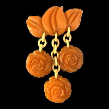 Unusual 1930s Tangerine Orange Bakelite Leaves and Rosettes Dangling Charms Pin Brooch