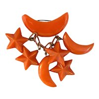 Rare 1930s Figural Vivid Orange Bakelite Moon and Stars Dangling Charms Pin Brooch