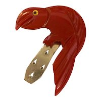 Adorable 1930s Red Figural Bakelite Parrot Dress Clip