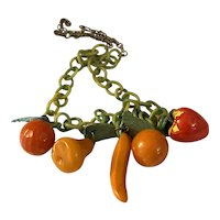 1930s Art Deco Multicolor Bakelite Oranges Mixed Fruits Necklace