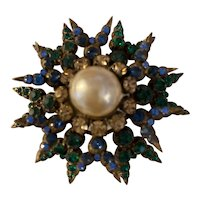 European Unusually Set Starburst Brooch Pin with Pearl Center and Unusual Colored Stone Combination
