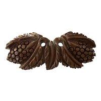 1930s Fudgy Brown Bakelite Figural Strawberry Bar Pin Brooch