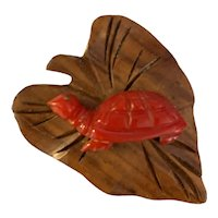 Cute 1930s Figural Carved Red Bakelite Turtle on Wood Leaf Dress Clip