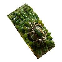 1930s Faux Jade Green Bakelite Figural Crab Chinoiserie Style Hinged Bracelet