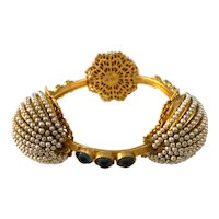 Exquisite William DeLillo Seed Pearl Antiqued Gold Faux Sapphire Cabochon Bangle Bracelet