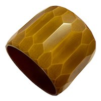 Mammoth Super Wide Resin Washed Taupe Wheat 1930s Faceted Bakelite Bangle Bracelet