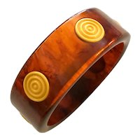 1930s Root beer Bakelite Carved Cream Dot Geometric Bangle Bracelet