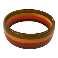 1930s Geometric 4-color Philadelphia Style  Laminated Bakelite Striped Bangle Bracelet