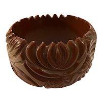 Wide 1930s Brown Heavy Carved Leaf and Flower Bakelite Bangle Bracelet