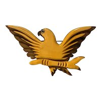 1930s Art Deco Wood and Cream Bakelite Eagle Brooch Pin Patriotic