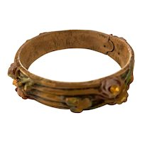 1920s Cellulose Acetate Stained Rhinestone Embellished Floral Bangle Bracelet