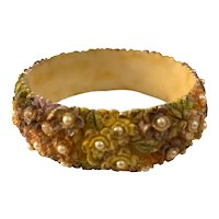 1920s Cellulose Acetate Pastel Painted Pearl Encrusted Floral Bangle Bracelet