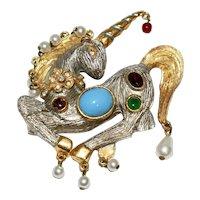 1960s KJL Jewels of India Mogul Style Unicorn Brooch Pin