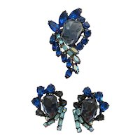 WEISS Large Blue Assymetrical Stone Design Turquoise Baguettes Brooch Pin and Earrings Set