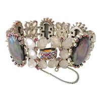 Exquisite TRIFARI Fruit Salad Rhodium and Pink Borealis  and Gray Mother of Pearl Link Bracelet RARE