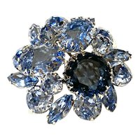 Lovely Azure Toned SCHREINER Multi Hued Brooch Pin