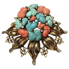 Luscious TRIFARI Fruit Salad Faux Turquoise and Coral Leaf Brooch Pin