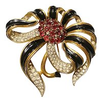 Important Trifari Empress Eugenie Black Enamel Mammoth Floral Brooch Pin Clip