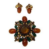 Schreiner STYLE Faux Topaz Emerald Fancy Maltese Cross Brooch Pin Earrings Set