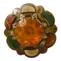 Early 20th Century Sterling  and Scottish Agate and Crystal Brooch Pin